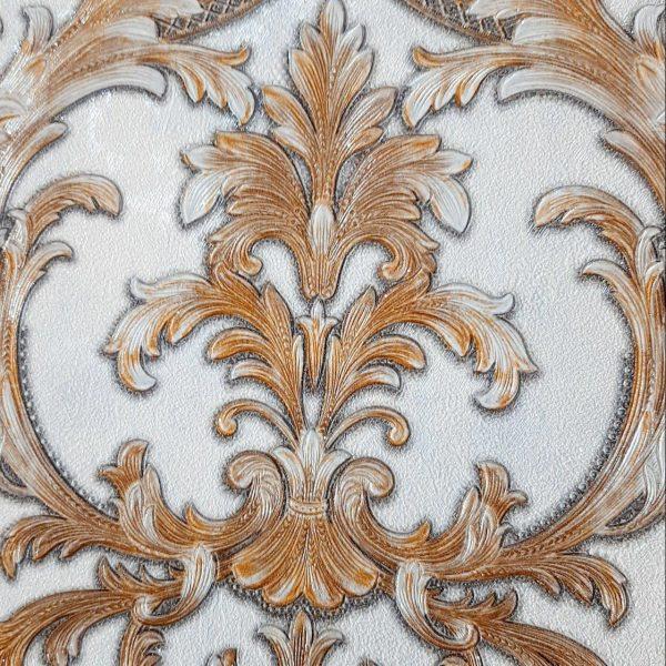 کاغذ دیواری داماسک سفید با گل قهوه ای