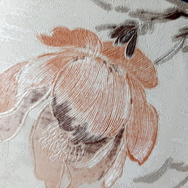 کاغذ دیواری کرم با گل نارنجی
