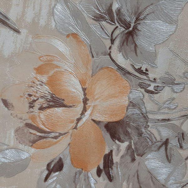 کاغذ دیواری قهوه ای با گل کرم