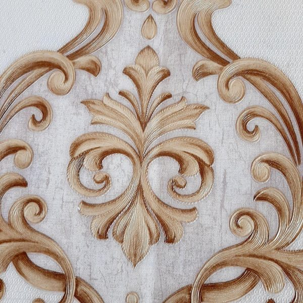 کاغذ دیواری صدفی با گل کرم داماسک
