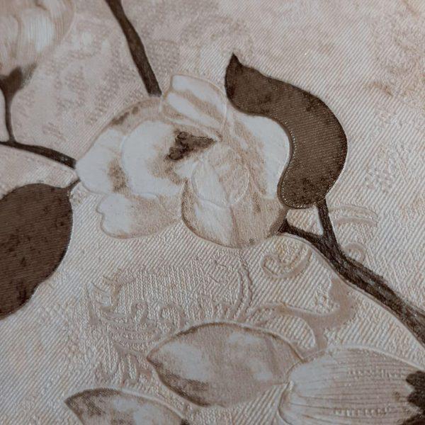 کاغذ دیواری کرم با گل قهوه ای