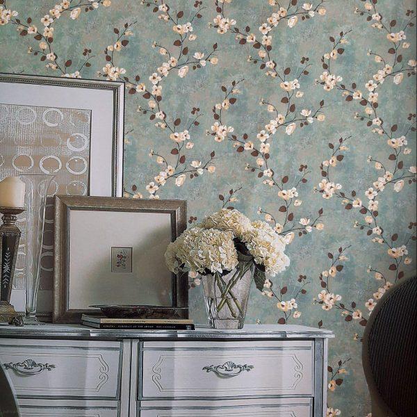 دکوراسیون داخلی با کاغذ دیواری آبی