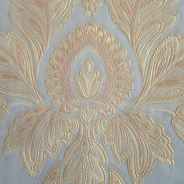 کاغذ دیواری داماسک آبی با گل طلایی