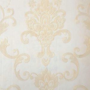 کاغذ دیواری کرم با گل طلایی