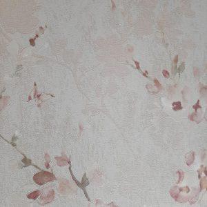 کاغذ دیواری کرم با گل صورتی